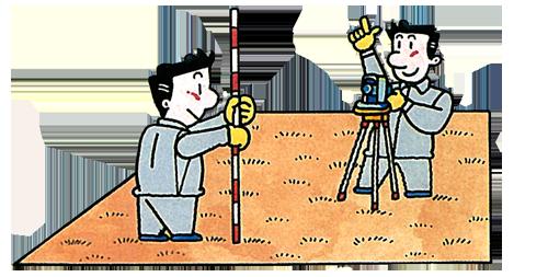 [写真]土地の地積の測量をします